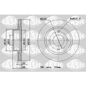 6106060 SASIC framaxel, ventilerad, utan rullager Ø: 255mm, Hålant.: 4, Bromsskivetjocklek: 22mm Bromsskiva 6106060 köp lågt pris