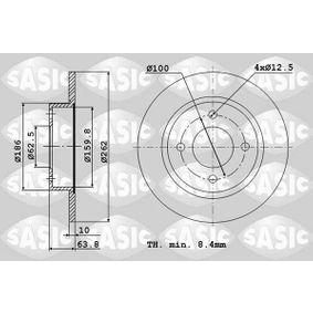 Comprare 6106217 SASIC Assale posteriore, Pieno, senza cuscinetto antifrizione Ø: 262mm, N° fori: 4, Spessore disco freno: 10mm Disco freno 6106217 poco costoso