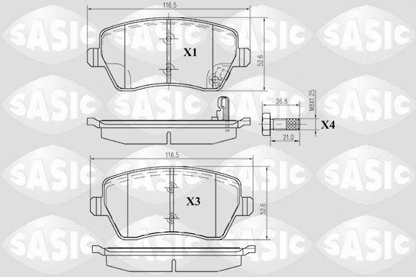 24403 SASIC Vorderachse, ohne akustische Verschleißwarnung Dicke/Stärke: 16,5mm Bremsbelagsatz, Scheibenbremse 6214011 günstig kaufen