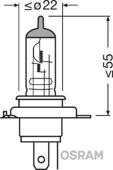 Ampoule, projecteur principal OSRAM 64185-01B NSC HONDA