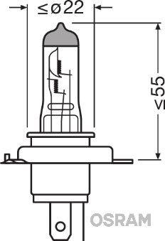 OSRAM X-RACER Zarovka, dalkovy svetlomet 60/55W, 12V, H4 64193XR-01B APRILIA
