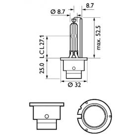 85122WHV2C1 Glödlampa, fjärrstrålkastare PHILIPS - Billiga märkesvaror
