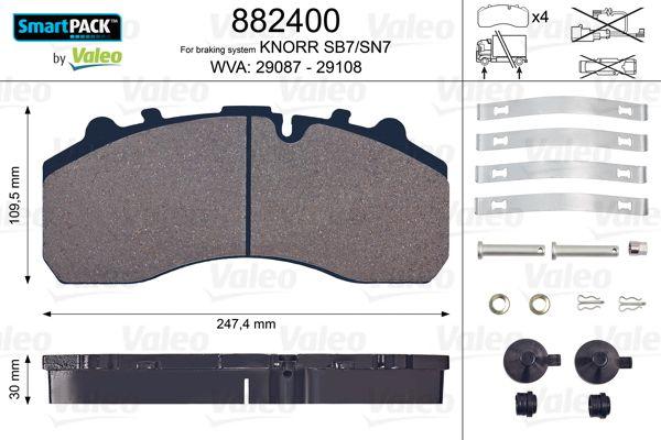 882400 VALEO Bremsbelagsatz, Scheibenbremse für DAF LF jetzt kaufen