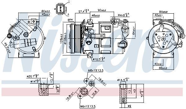 NISSENS: Original Kompressor 890210 (Riemenscheiben-Ø: 108mm, Anzahl der Rillen: 6)