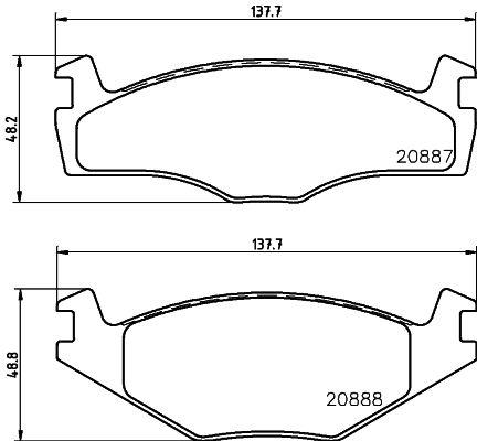 Bremsbelagsatz Scheibenbremse VW Polo Playa hinten + vorne 2005 - HELLA 8DB 355 006-381 (Höhe 1: 48,8mm, Höhe 2: 48,2mm, Breite 1: 137,7mm, Breite 2: 137,7mm, Dicke/Stärke: 17,3mm)