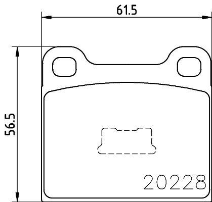 Bremsbelagsatz VW Polo 86 hinten + vorne 1981 - HELLA 8DB 355 006-531 (Höhe: 56,5mm, Breite: 61,7mm, Dicke/Stärke: 15,2mm)