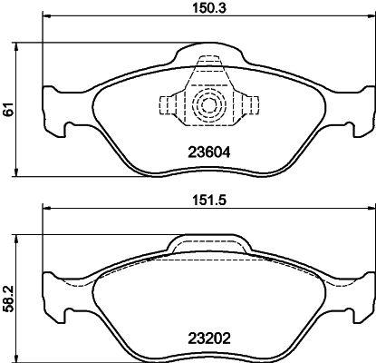 Bremsklötze Ford Fiesta Mk5 Limousine hinten + vorne 2007 - HELLA 8DB 355 008-901 (Höhe 1: 61mm, Höhe 2: 58,2mm, Breite 1: 150,1mm, Breite 2: 151,3mm, Dicke/Stärke: 18,8mm)