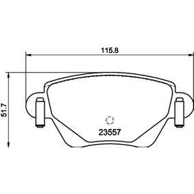 7790D911 HELLA nicht für Verschleißwarnanzeiger vorbereitet, mit Bremssattelschrauben Höhe: 51,7mm, Breite: 115,5mm, Dicke/Stärke: 17,2mm Bremsbelagsatz, Scheibenbremse 8DB 355 009-081 günstig kaufen