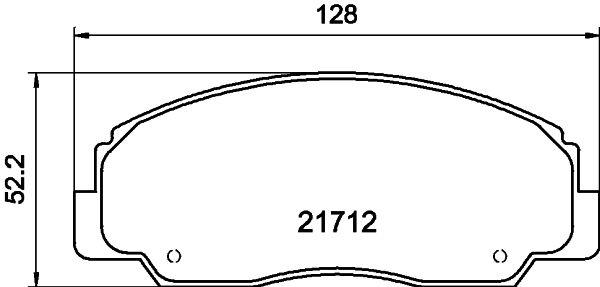 DAIHATSU FEROZA 1992 Bremsbelagsatz - Original HELLA 8DB 355 009-781 Höhe: 52,2mm, Breite: 127,9mm, Dicke/Stärke: 14mm