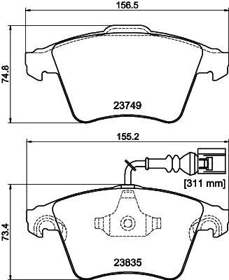 23835 HELLA mit integriertem Verschleißsensor Höhe 1: 75mm, Höhe 2: 73,2mm, Breite: 156,2mm, Dicke/Stärke 1: 18,8mm, Dicke/Stärke 2: 19,8mm Bremsbelagsatz, Scheibenbremse 8DB 355 011-621 günstig kaufen