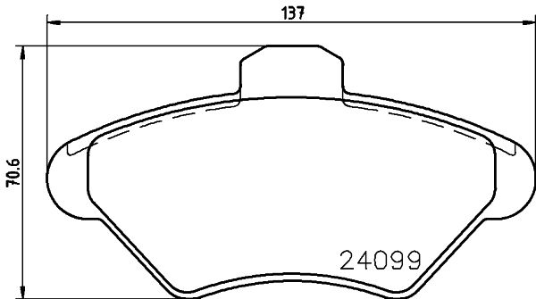 FORD USA THUNDERBIRD 1998 Bremsbelagsatz - Original HELLA 8DB 355 013-011 Höhe: 70,6mm, Breite: 136,8mm, Dicke/Stärke: 18mm