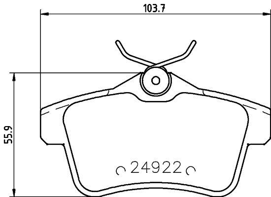 24922 HELLA nicht für Verschleißwarnanzeiger vorbereitet, mit Zubehör Höhe: 55,9mm, Breite: 103,7mm, Dicke/Stärke: 17,3mm Bremsbelagsatz, Scheibenbremse 8DB 355 014-531 günstig kaufen