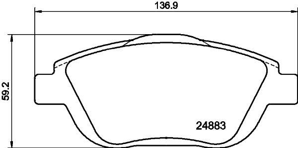 24883 HELLA nicht für Verschleißwarnanzeiger vorbereitet, mit Bremssattelschrauben, mit Zubehör Höhe: 59,2mm, Breite: 136,7mm, Dicke/Stärke: 18mm Bremsbelagsatz, Scheibenbremse 8DB 355 014-551 günstig kaufen