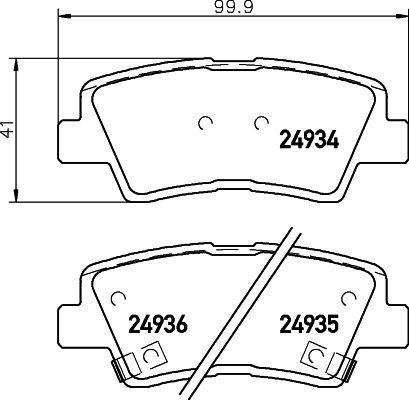 8428D1313 HELLA mit akustischer Verschleißwarnung Höhe: 41mm, Breite: 99,9mm, Dicke/Stärke: 15,5mm Bremsbelagsatz, Scheibenbremse 8DB 355 014-571 günstig kaufen