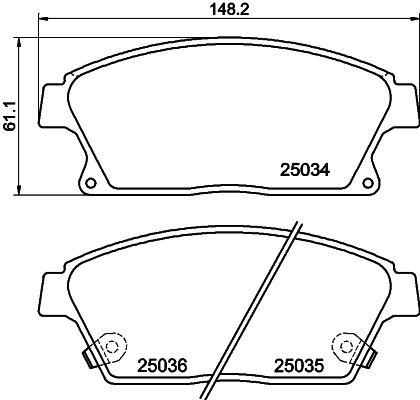 Brake pad set disc brake 8DB 355 015-241 HELLA — only new parts