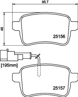 DODGE DART 2015 Bremsklötze - Original HELLA 8DB 355 015-541 Höhe: 48mm, Breite: 95,5mm, Dicke/Stärke: 17,8mm