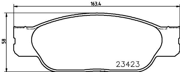 FORD USA THUNDERBIRD 2001 Bremsbelagsatz Scheibenbremse - Original HELLA 8DB 355 018-551 Höhe: 58mm, Breite: 163,2mm, Dicke/Stärke: 17,8mm