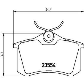 23554 HELLA nicht für Verschleißwarnanzeiger vorbereitet, mit Bremssattelschrauben Höhe: 53mm, Breite: 87mm, Dicke/Stärke: 16,2mm Bremsbelagsatz, Scheibenbremse 8DB 355 019-911 günstig kaufen