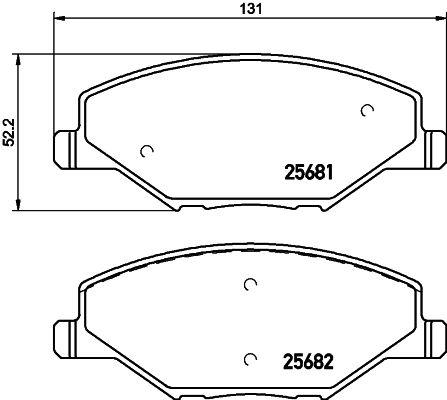 Achetez Jeu de plaquettes de frein HELLA 8DB 355 020-521 (Hauteur: 52,2mm, Largeur: 131mm, Épaisseur: 18mm) à un rapport qualité-prix exceptionnel