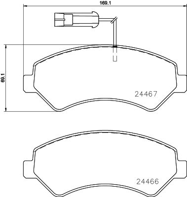 OE Original Bremsbelagsatz Scheibenbremse 8DB 355 023-011 HELLA