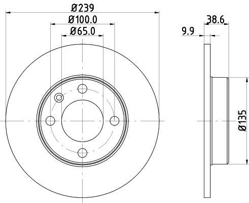 HELLA 8DD 355 100-051 (Ø: 239mm, Épaisseur du disque de frein: 9,9mm) : Disque VW Polo 86c 1987