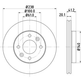 52820PRO HELLA PRO Innenbelüftet, beschichtet, ohne Radnabe, ohne Radbefestigungsbolzen Ø: 238mm, Bremsscheibendicke: 20,1mm Bremsscheibe 8DD 355 101-261 günstig kaufen