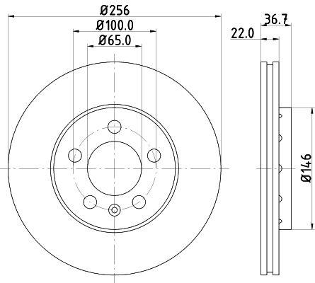 Achetez Freins HELLA 8DD 355 127-291 (Ø: 256mm, Épaisseur du disque de frein: 22mm) à un rapport qualité-prix exceptionnel