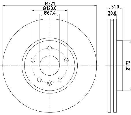 HELLA: Original Scheibenbremsen 8DD 355 129-091 (Ø: 321mm, Bremsscheibendicke: 30mm)