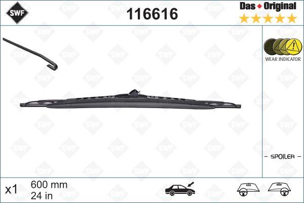 Köp SWF 116616 - Vindruterengöring till Toyota: Standard, 600mm Styling: med spoiler