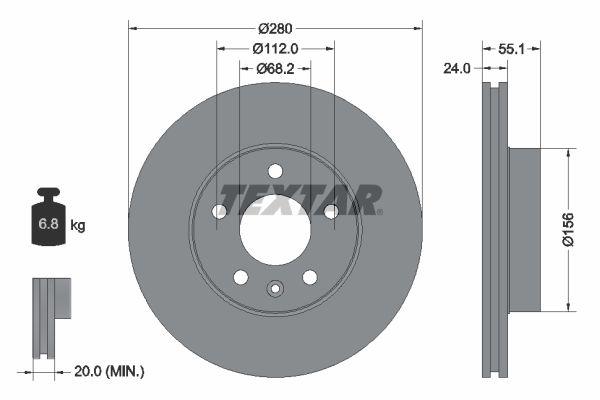 Achetez Disque TEXTAR 92083805 (Ø: 280mm, Épaisseur du disque de frein: 24mm) à un rapport qualité-prix exceptionnel