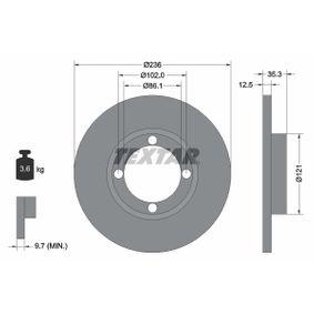 98200100301PRO TEXTAR PRO Voll, beschichtet, ohne Radnabe, ohne Radbefestigungsbolzen Ø: 236mm, Bremsscheibendicke: 12,5mm Bremsscheibe 92100303 günstig kaufen