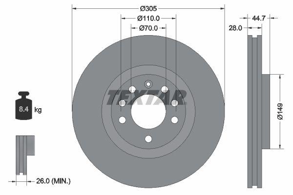 98200155401PRO TEXTAR PRO Innenbelüftet, beschichtet, ohne Radbefestigungsbolzen, ohne Radnabe Ø: 305mm, Bremsscheibendicke: 28mm Bremsscheibe 92155403 günstig kaufen