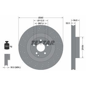 98200176401PRO TEXTAR PRO+ Gelocht/innenbel., beschichtet, hochgekohlt, ohne Radnabe, ohne Radbefestigungsbolzen Ø: 350mm, Bremsscheibendicke: 32,0mm Bremsscheibe 92176405 günstig kaufen