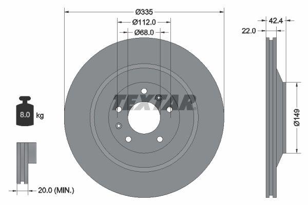 98200177001PRO TEXTAR PRO+ außenbelüftet, beschichtet, hochgekohlt, ohne Radnabe, ohne Radbefestigungsbolzen Ø: 335mm, Bremsscheibendicke: 22mm Bremsscheibe 92177005 günstig kaufen