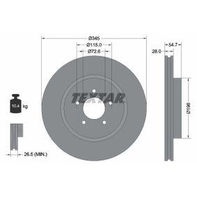 98200177101PRO TEXTAR PRO+ Innenbelüftet, beschichtet, hochgekohlt, ohne Radnabe, ohne Radbefestigungsbolzen Ø: 345mm, Bremsscheibendicke: 28mm Bremsscheibe 92177105 günstig kaufen