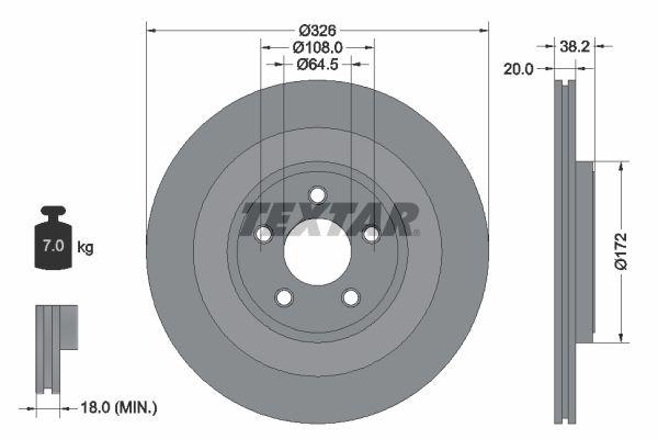 98200178001PRO TEXTAR PRO+ Innenbelüftet, beschichtet, hochgekohlt, ohne Radnabe, ohne Radbefestigungsbolzen Ø: 326mm, Bremsscheibendicke: 20mm Bremsscheibe 92178005 günstig kaufen