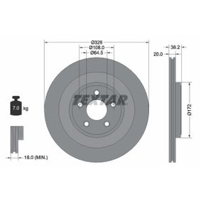 98200178001PRO TEXTAR PRO+ Innenbelüftet, beschichtet, hochgekohlt, ohne Radnabe, ohne Radbefestigungsbolzen Ø: 326mm, Bremsscheibendicke: 20,0mm Bremsscheibe 92178005 günstig kaufen