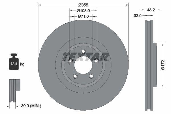 98200186301PRO TEXTAR PRO+ Innenbelüftet, beschichtet, hochgekohlt, ohne Radnabe, ohne Radbefestigungsbolzen Ø: 355mm, Bremsscheibendicke: 32mm Bremsscheibe 92186305 günstig kaufen
