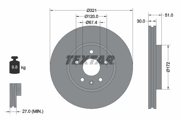 TEXTAR: Original Bremsscheibe 92187005 (Ø: 321mm, Bremsscheibendicke: 30mm)