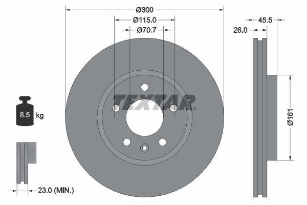 TEXTAR: Original Tuning 92205605 (Ø: 300mm, Bremsscheibendicke: 26mm)