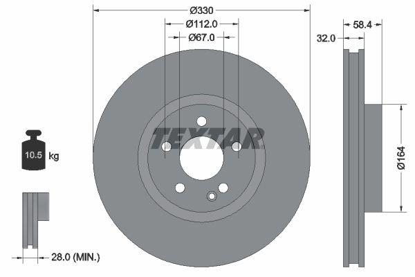 MERCEDES-BENZ MARCO POLO 2015 Bremsscheibe - Original TEXTAR 92279403 Ø: 330mm, Bremsscheibendicke: 32mm