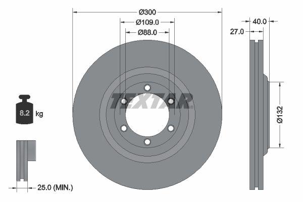 ISUZU MU-X 2015 Bremsen - Original TEXTAR 92282403 Ø: 300mm, Bremsscheibendicke: 27mm