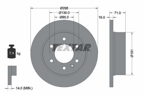 Compre TEXTAR Disco de travão 93143303 caminhonete