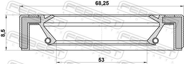 FEBEST   Wellendichtring, Verteilergetriebe 95GAY-55680808L