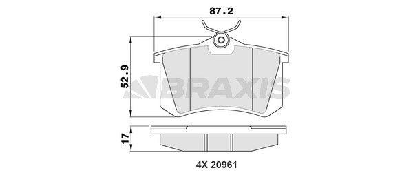 AA0005 BRAXIS exkl. Verschleißwarnkontakt Höhe 1: 52,9mm, Dicke/Stärke 1: 17mm Bremsbelagsatz, Scheibenbremse AA0005 günstig kaufen