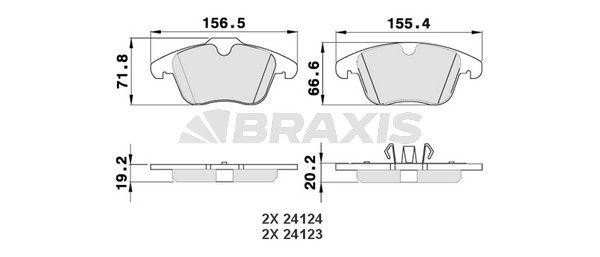 AA0044 BRAXIS exkl. Verschleißwarnkontakt Höhe 1: 71,8mm, Höhe 2: 66,6mm, Dicke/Stärke 1: 19,2mm, Dicke/Stärke 2: 20,2mm Bremsbelagsatz, Scheibenbremse AA0044 günstig kaufen