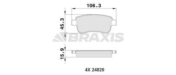 BRAXIS Bremsbelagsatz, Scheibenbremse AA0087