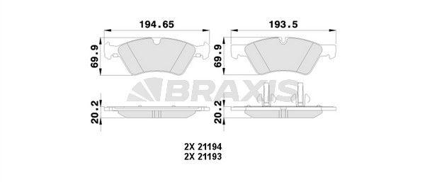 AA0123 BRAXIS exkl. Verschleißwarnkontakt Höhe 1: 69,9mm, Höhe 2: 69,9mm, Dicke/Stärke 1: 20,7mm, Dicke/Stärke 2: 20,2mm Bremsbelagsatz, Scheibenbremse AA0123 günstig kaufen