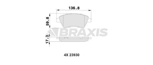 BRAXIS Bremsbelagsatz, Scheibenbremse AB0018