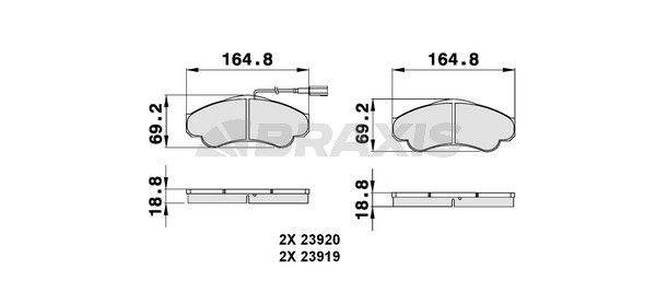 BRAXIS Bremsbelagsatz, Scheibenbremse AB0141